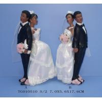 Quality Small Household Ceramics Polyresin Figurine Bride And Bridegroom With Flowers In Hand 7 X 5.6 X 17.6 Cm for sale