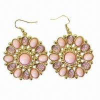 China 18K Zinc-alloy Peach Bead Sunfower Shaped Drop Earrings, Various Colors are Available on sale