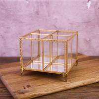 China Golden Copper Glass Jewellery Boxes Pen Container Storage Boxes for sale