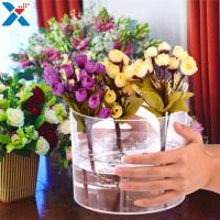 Buy Waterproof Acrylic Flower Box Makeup Organizer Holder Round Shape ROHS Approval at wholesale prices