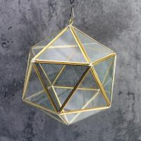 Hanging Glass Copper Geometric Gardening Air Plants Terrarium Home Decoration Glass Terrarium for sale