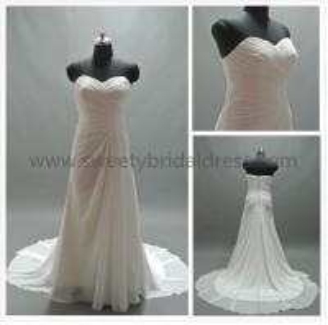 Buy Sheath/Column Sweetheart Ruffles Zipper Chiffon Wedding Dress #LX95 at wholesale prices