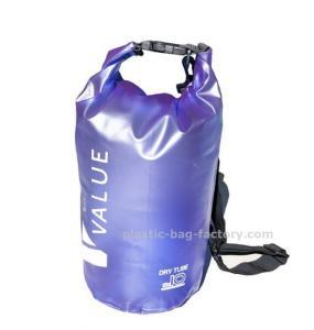 Quality Water-Resistant 10L Blue PVC  Dry Tube Bag , Travel Dry Backpacks with Adjustable Shoulder Strap for sale