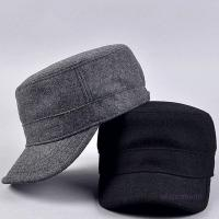 Quality Plain Flat Top Army Cap Custom Military Distressed Hats Fitted Strap Closure for sale