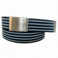 Unisex Stripped Cotton Webbing with Scout Buckle for sale