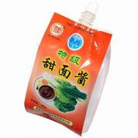 Quality Stand-up Spout Sauce Pouch, Customized Sizes are Accepted, with Gusset and Suction Nozzle for sale
