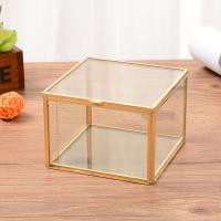 Transparent Glass Square Jewellery Storage Box Eternal Flower Box for sale