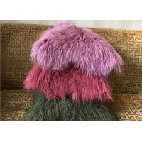 Quality Mongolian fur Pillow Luxurious Purple Dyed Single Sided Fluffy Fur Bed throw for sale