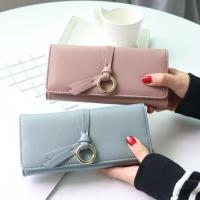 Quality Metal Circle Belt Knot Womens Credit Card Holder Wallet, Multi Functional Students PU Leather Clutch Purse for sale