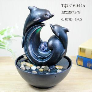 Quality Garden Household Ceramics Polyresin Backyard Water Fountain Pot Dolphin Design 25 X 25 X 34 Cm for sale