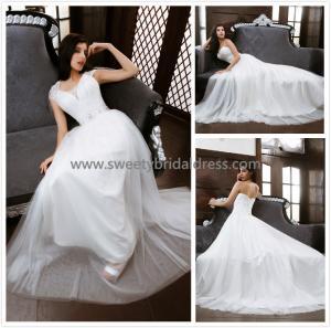 Quality Aline V-Neck Cap Sleeves Beading Belt Tulle Wedding Dress XG0014 for sale