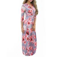 Quality Casual 3 4 Sleeves Summer Floral Maxi Dresses , Petite Length Maxi Dresses For Weddings for sale