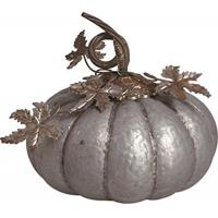 China Rustic Galvanized Metal Pumpkin with Curved Stem and Decorative Leaves - 11 x 11' on sale