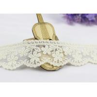 3.5 Width White Cotton Lace Trim By The Yard,  Scalloped Floral Mesh Lace Ribbon for sale
