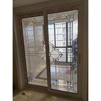 Quality 2017 decorative leaded glass inserts for sliding door with brass came 1 inch thickness for sale