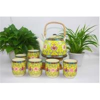 Buy Unique Fine China Ceramic Tea Set Gold And Yellow With Rattan Pot Handle at wholesale prices