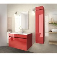 Quality 80 Inch Red Single Bathroom Vanity , Good Stability Bathroom Vanity With Sink for sale