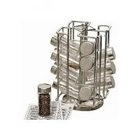 Quality 2012 market promotional 200ml glass spice jar set with rack and plastic lid for sale
