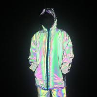 Quality Full Zip Up Face Hood Reflective Coat Mens Rainbow Reflective Jacket Turtleneck for sale