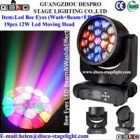 Quality LED Bee Eye 19pcs 15w RGBW 4 IN 1 LED Moving Head Stage Light for sale