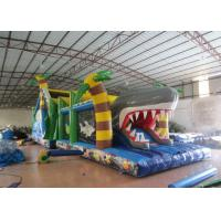 Quality White Shark Inflatable Obstacle Courses Silk Printing 14 X 4m With Palm Trees for sale