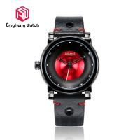 Cool Fashion Plain Mens Watches , Quartz Gents Black Watch With Red Dial