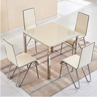 China Modern Tempered Glass Dining Room Sets With Powder Coating Counter Tops dining table set with pu chairs on sale