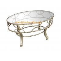 Quality Top Quality  Metal Decorative Framed Coffee Table With Tempered Glass Top Silver Finish Table for sale