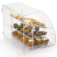 Buy Acrylic Food Display Case Irregular 300pcs with 3 Plastic Trays Curved Front at wholesale prices