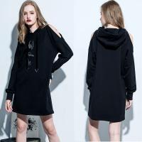 Clothing Fashion Women Cold Shoulder Hoodie Dress for sale