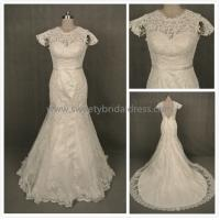 Quality Mermaid & Trumpet High Neck Cap Sleeves Satin Belt Lace Wedding Dress LT2333-1 for sale