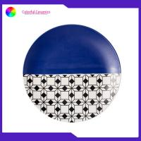 China 8 Inch Geometric Flat Custom Printed Dinner Plates Ceramic Tableware Eco Friendly on sale