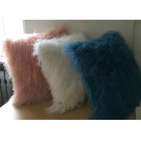 Buy White Fuzzy Decorative Pillow , Extra Long Curly Mongolian Lambswool Cushion  at wholesale prices