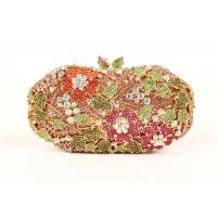 Women Luxury Multi Color Stone Clutch Bag Round Floral Pattern For Bridal Party