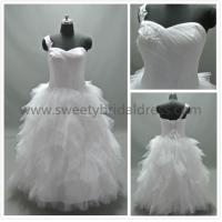 Quality Ball Gown One Shoulder Lace Appliques Ruffles Tulle Wedding Dress AS1313 for sale