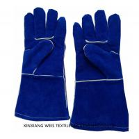 China Cow Split Cuff Flame Resistant Accessories / Heavy Duty Welding Leather Work Gloves Cotton Lining on sale