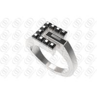 Buy cheap Pyramid Accent Stainless Steel Engage Rings With Black Onyx Embedded from wholesalers