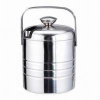 Quality Double Wall Ice Bucket with 0.6mm Thickness, Made of Stainless Steel, Customized Colors are Accepted for sale