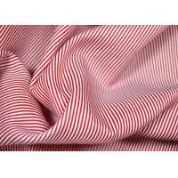 Quality Soft Touch Cotton Yarn Dyed Fabric , Smooth Red And White Striped Material for sale