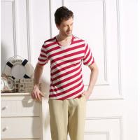 Quality 45% Cotton 55% Hemp Material Red And White Striped T Shirt Mens Casual Style for sale