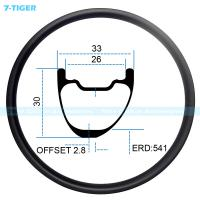 Quality 7-tiger carbon mountain bicycle wheel rim 27.5 er asymmetric offset XC bike 30 x 33 mm Tubeless Compatible for sale