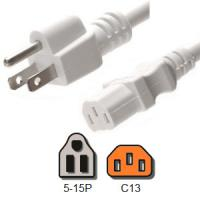 White Computer Power Cord 10 Amp American NEMA 5 15P to IEC C13 18 / 3 AWG for sale