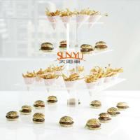 Buy Dessert Food Service TraysStack More Tiers Glass Plexiglass Display Shelves at wholesale prices