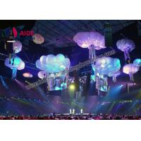 Quality White Cloud Shapes Inflatable Stage Decoration , Indoor Ceiling Blow Up Light for sale