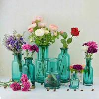 Quality Home Deco Glass Vases / Blue Glass Flower Bottle / Round Top Vase for sale