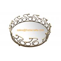 Quality China Factory Nice Mirror Tray With Metal  Decorated Frame in Various Size and Colors for sale