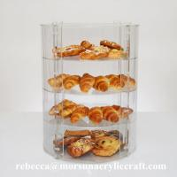 Quality Four Tier Clear Acrylic Display Stand Plexiglass Bakery Show Case for sale