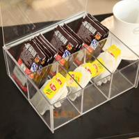 Buy 4mm Food Display Case Clear Acrylic Storage Trays With 6 Lattices at wholesale prices