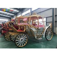 Quality Metallic Artwork Horse Drawn Pumpkin Carriage Hydraulic Brake For Tourism Spots for sale
