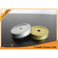 China Regular Mouth 1pc Mason Jar Lid With Hole Pewter or Gold color , Custom Bottle Cap on sale